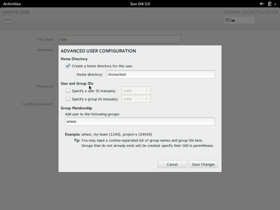 Fedora 20 User Account Advanced Options Screen