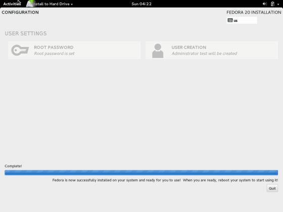 Fedora 20 Installation Done