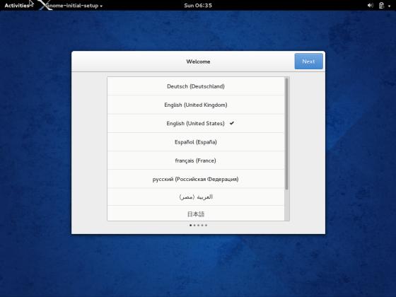 Fedora 20 Gnome 3.10 Welcome Screen