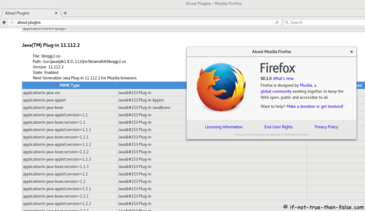 Java 8 on Fedora 25 Firefox 50