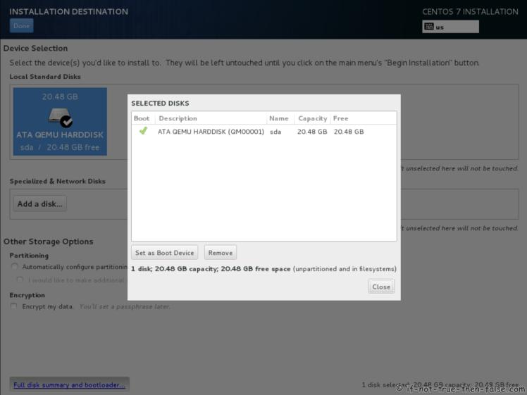 CentOS 7.5 Selected Disks