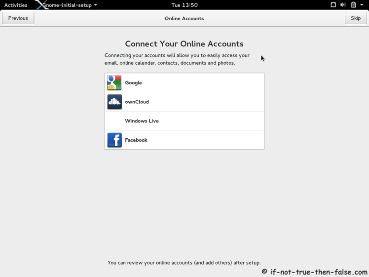 Fedora 21 Add Cloud Account
