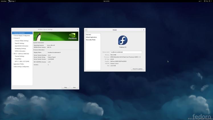 nVidia 340.76 on Fedora 21 Gnome 3.14.2