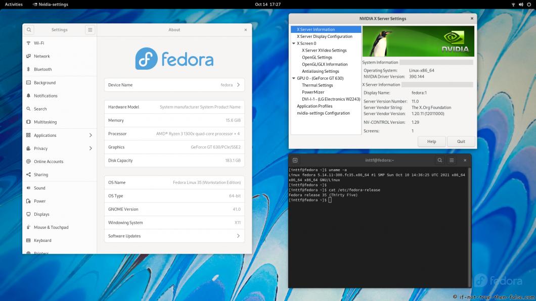 NVIDIA 390.144 running on Fedora 35 GNOME 41 Kernel 5.14.11