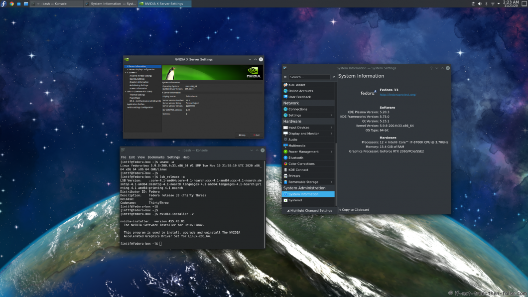 NVIDIA 455.45.01 running on Fedora 33 kernel 5.9.8