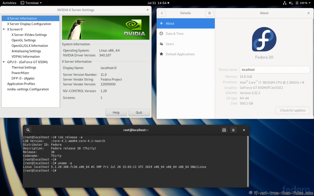 nVidia 340.107 drivers on Fedora 30 Gnome 3.32.2 with Kernel 5.1.20