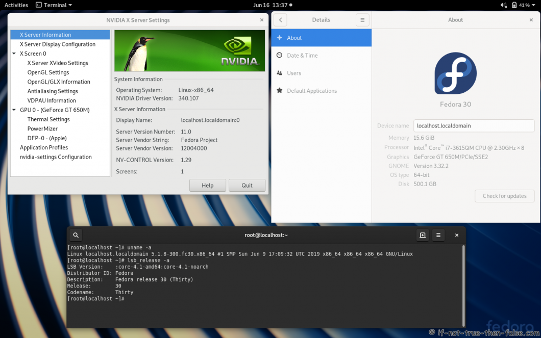 nVidia 340.107 drivers on Fedora 30 Gnome 3.32.2 with Kernel 5.1.8