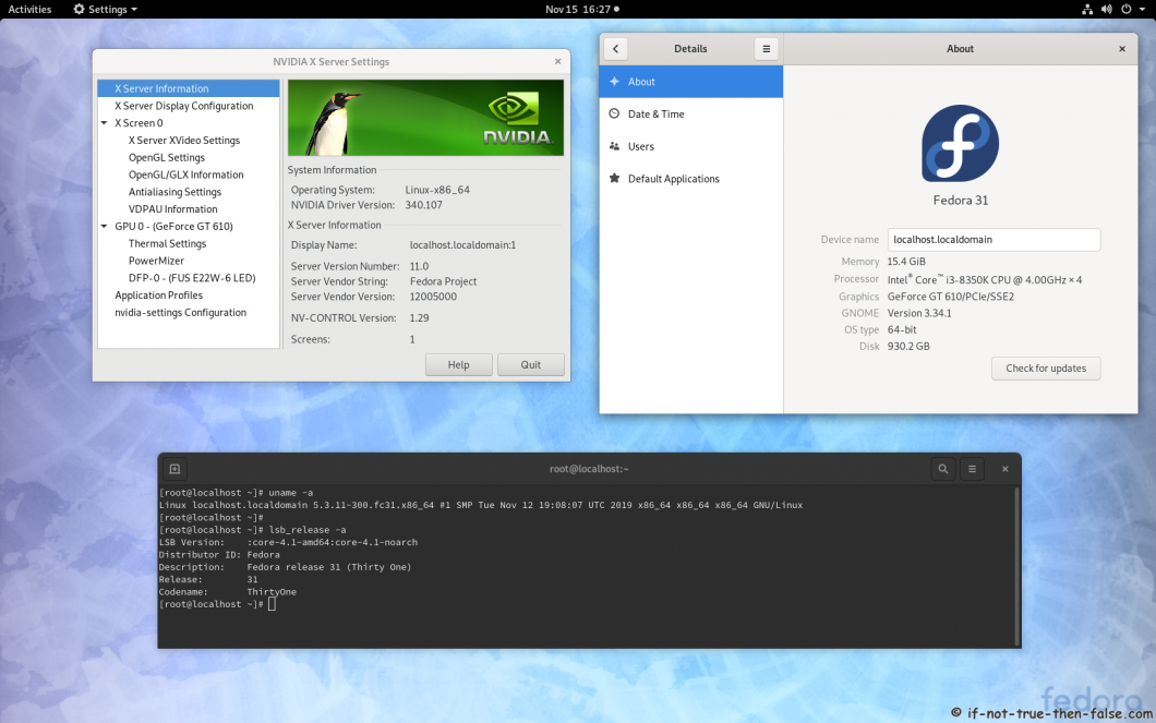 nVidia Drivers 340.107 on Fedora 31 Kernel 5.3.11 Gnome 3.34.1