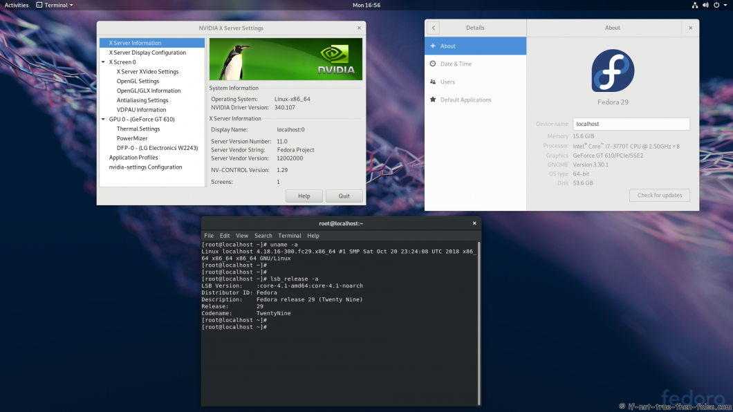nVidia 340.107 Running on Fedora 29 Kernel 4.18.16 Gnome 3.30.1