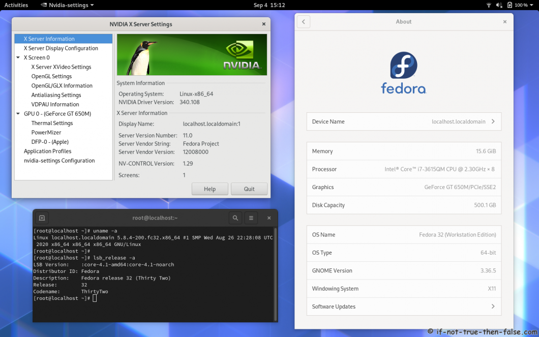 nVidia 340.108 running on Fedora 32 kernel 5.8 Gnome 3.36.5