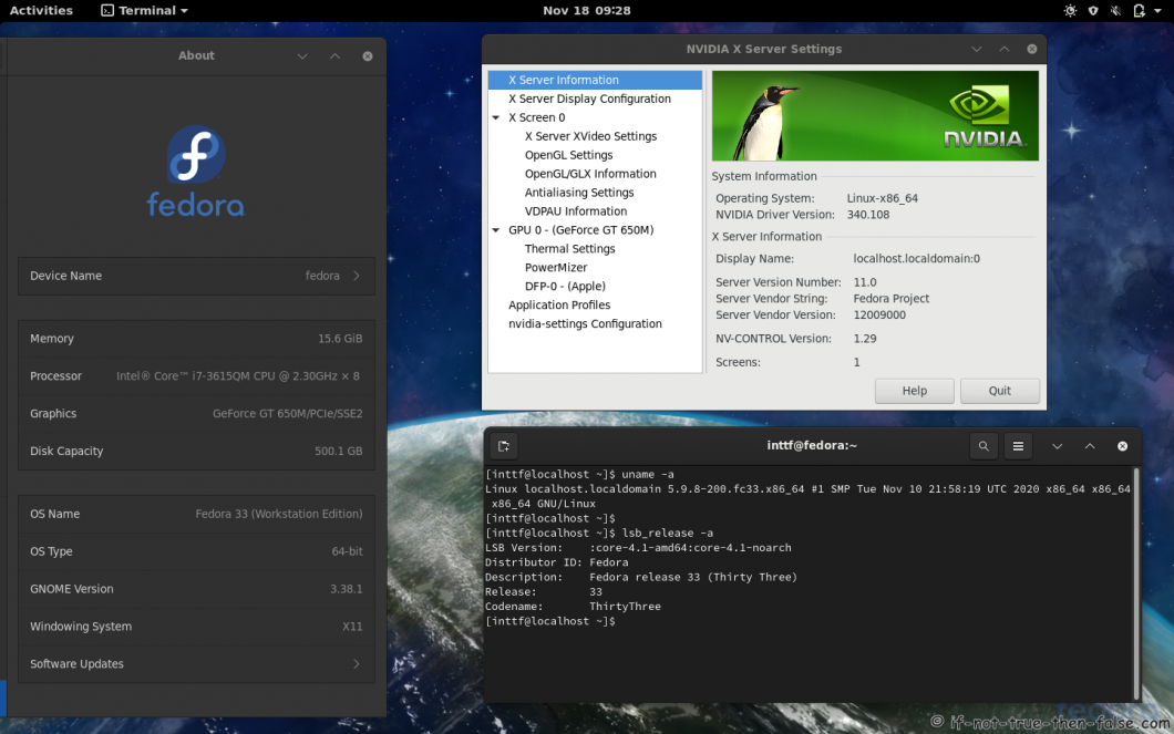 NVIDIA 340.108 running on Fedora 33 kernel 5.9.8
