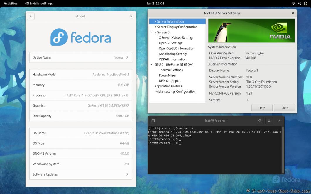NVIDIA 340.108 Running on Fedora 34 Kernel 5.12.8 Gnome 40.1.0