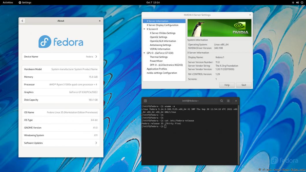 NVIDIA 340.108 running on Fedora 35 GNOME 41 Kernel 5.14.9