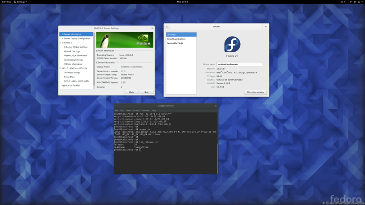 nVidia 340.96 drivers on Fedora 23 Gnome 3.18.1 with Kernel 4.2.5 and Xorg 1.18