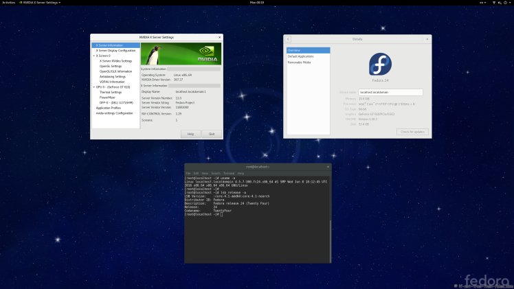 nVidia 367.27 Running on Fedora 24