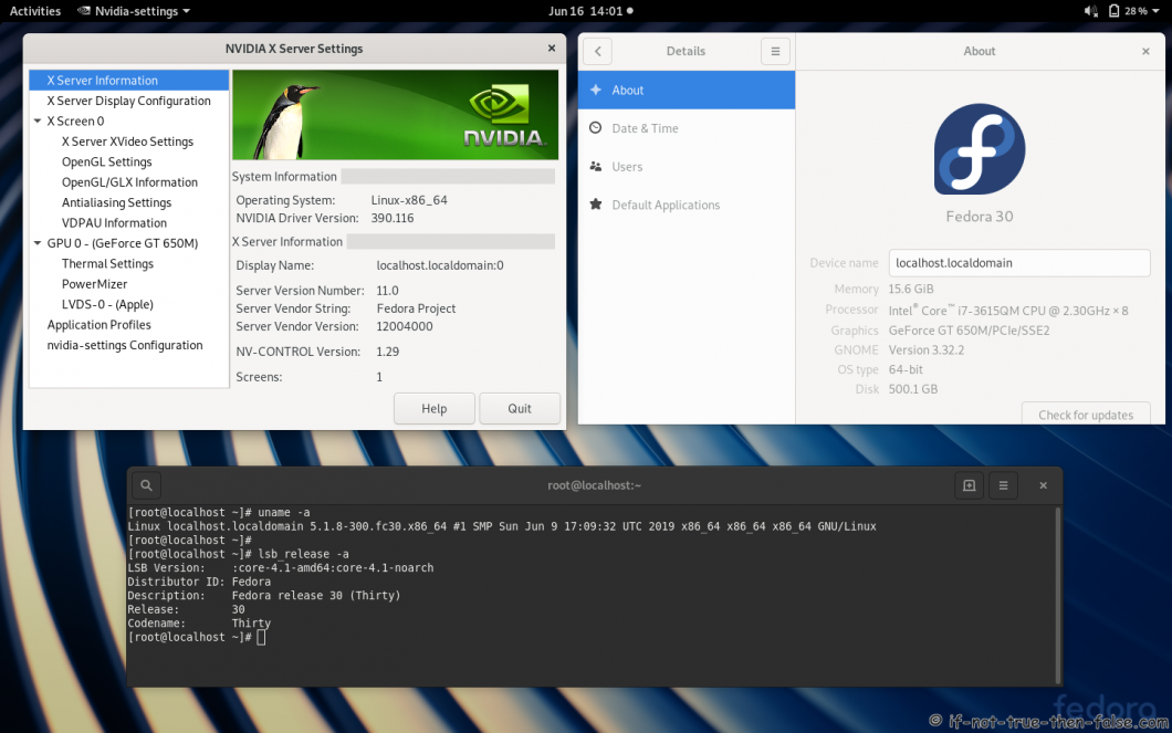 nVidia 390.116 drivers on Fedora 30 Gnome 3.32.2 with Kernel 5.1.8