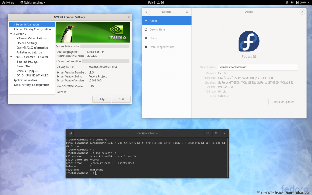 nvidia 390.132 running on Fedora 31 kernel 5.4.15 Gnome 3.34.3