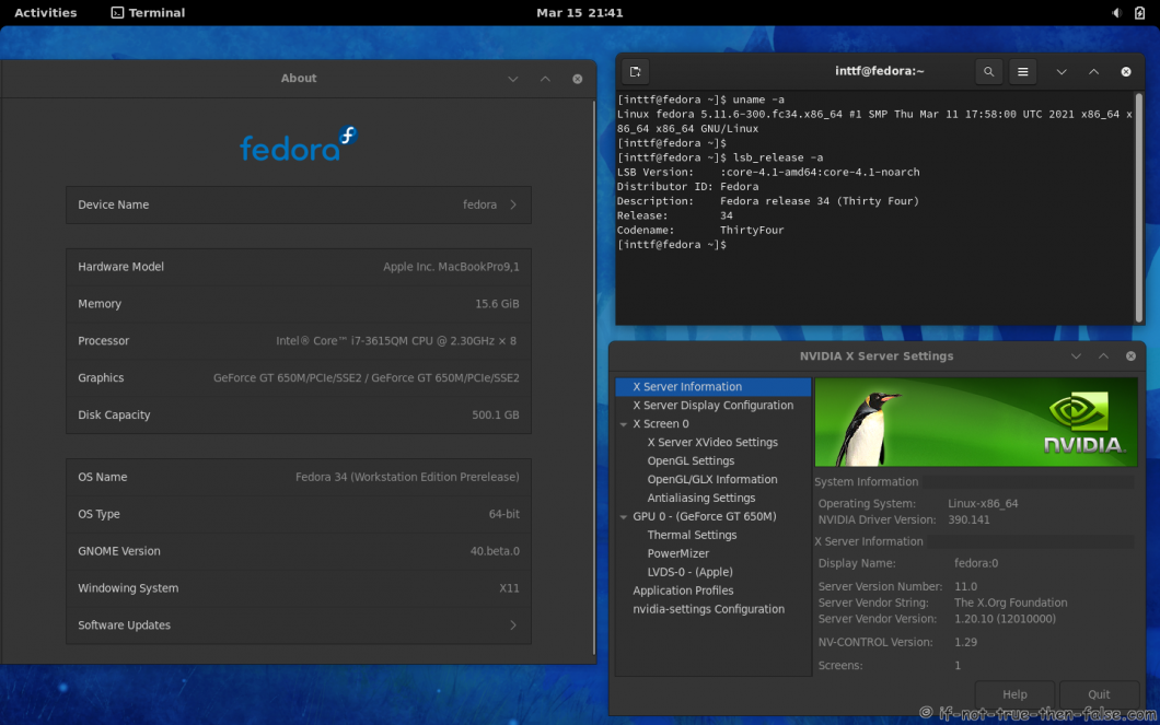 NVIDIA 390.141 drivers on Fedora 34 Gnome 40 with Kernel 5.11.6