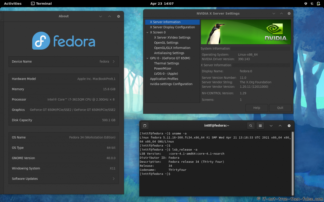 NVIDIA  390.143 Running on Fedora 34 Gnome 40