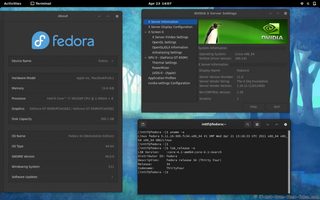 NVIDIA  390.143 Running on Fedora 34 Gnome 40