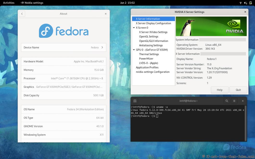 NVIDIA 390.143 Running on Fedora 34 Kernel 5.12.8 Gnome 40.1.0