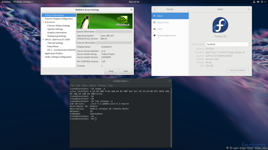 nVidia 396.54 Running on Fedora 29 Kernel 4.18.16 Gnome 3.30.1