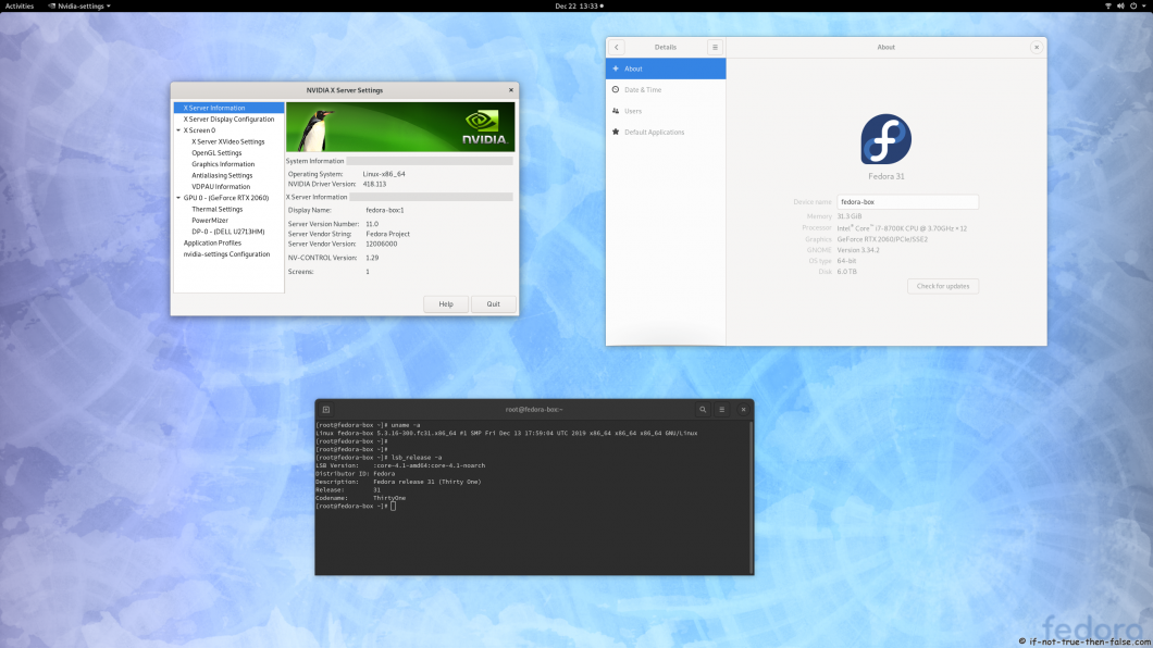 nVidia 418.113 on Fedora 31 Kernel 5.3.16 Gnome 3.34.2