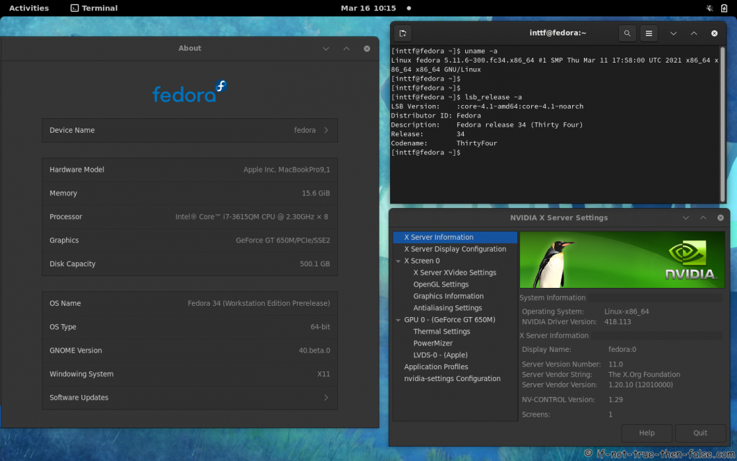 NVIDIA 418.113 drivers on Fedora 34 Gnome 40 with Kernel 5.11.6