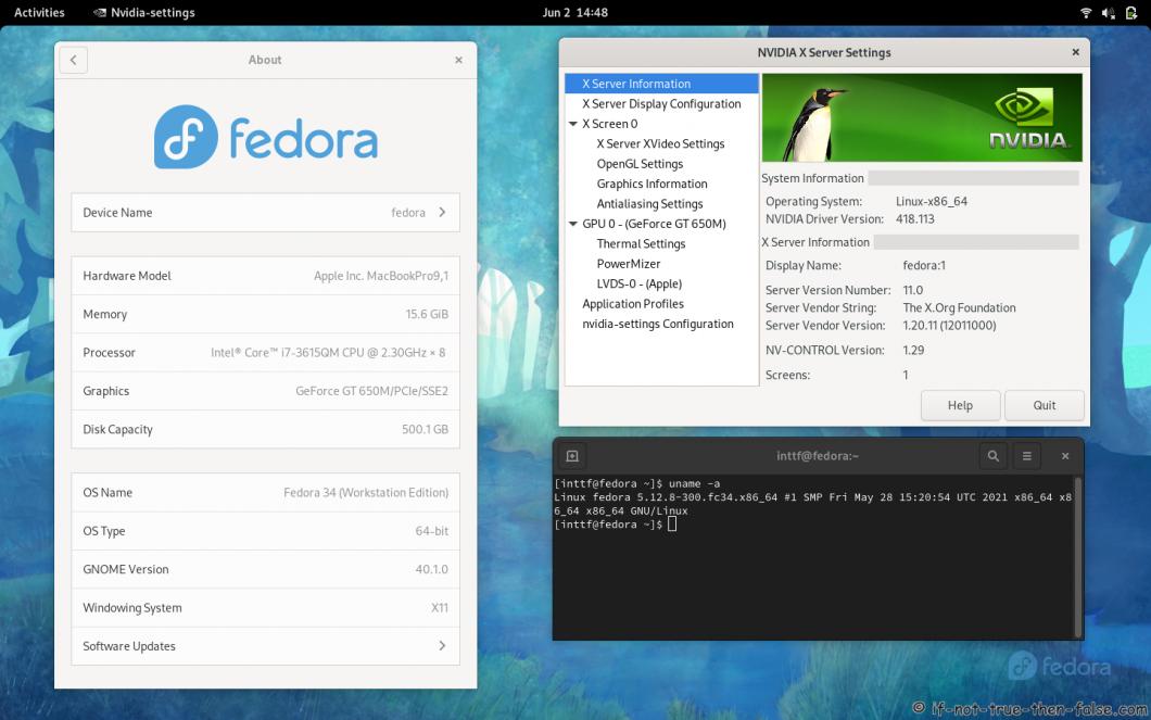 NVIDIA 418.113 Running on Fedora 34 Kernel 5.12.8 Gnome 40.1.0