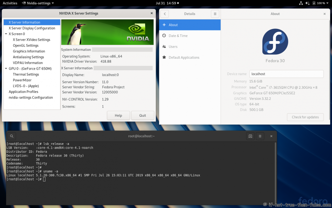 nVidia 418.88 drivers on Fedora 30 Gnome 3.32.2 with Kernel 5.1.20
