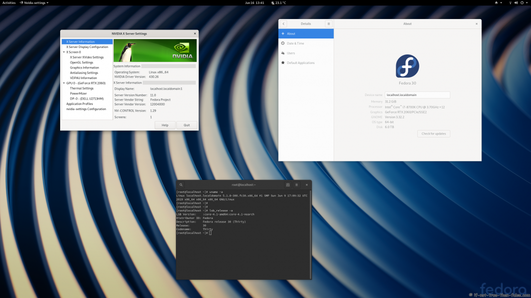 nVidia 430.26 drivers on Fedora 30 Gnome 3.32.2 with Kernel 5.1.8