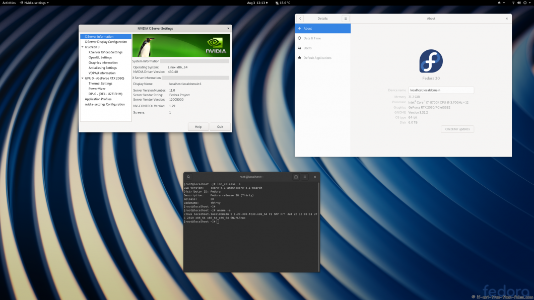 nVidia 430.40 drivers on Fedora 30 Gnome 3.32.2 with Kernel 5.1.20