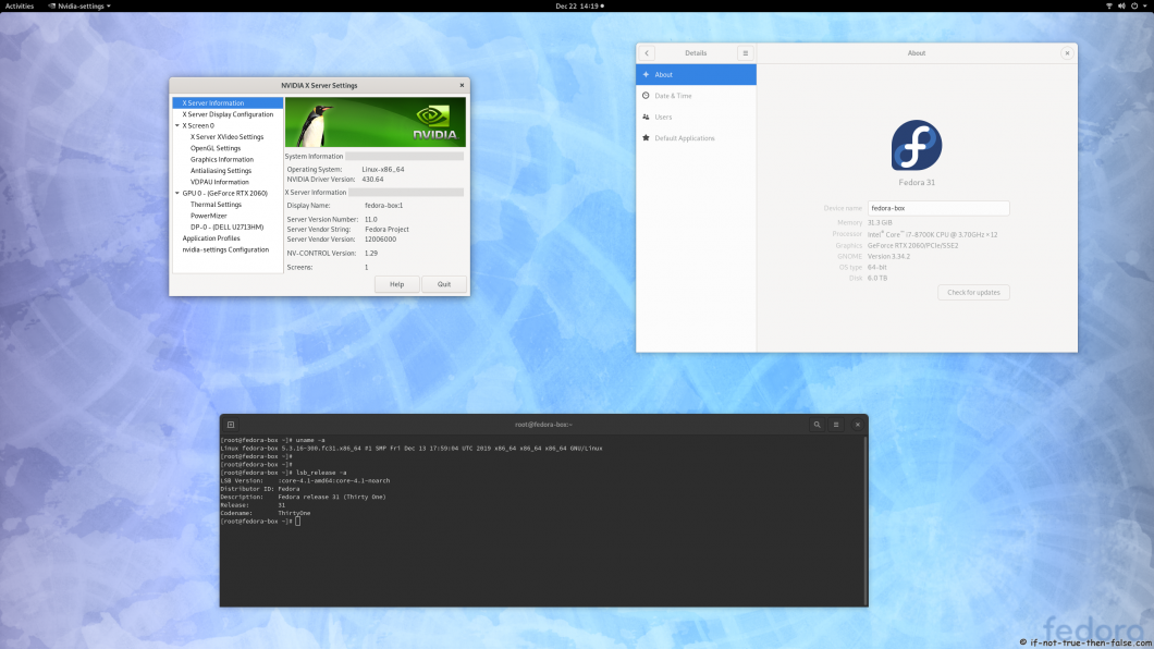 nVidia 430.64 on Fedora 31 Kernel 5.3.16 Gnome 3.34.2
