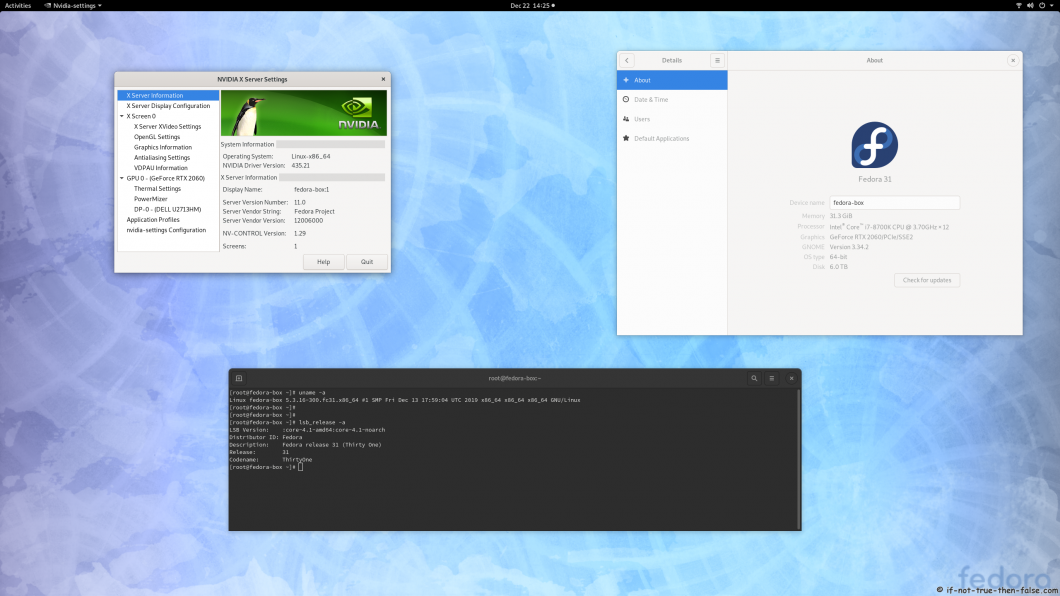 nVidia 435.21 on Fedora 31 Kernel 5.3.16 Gnome 3.34.2