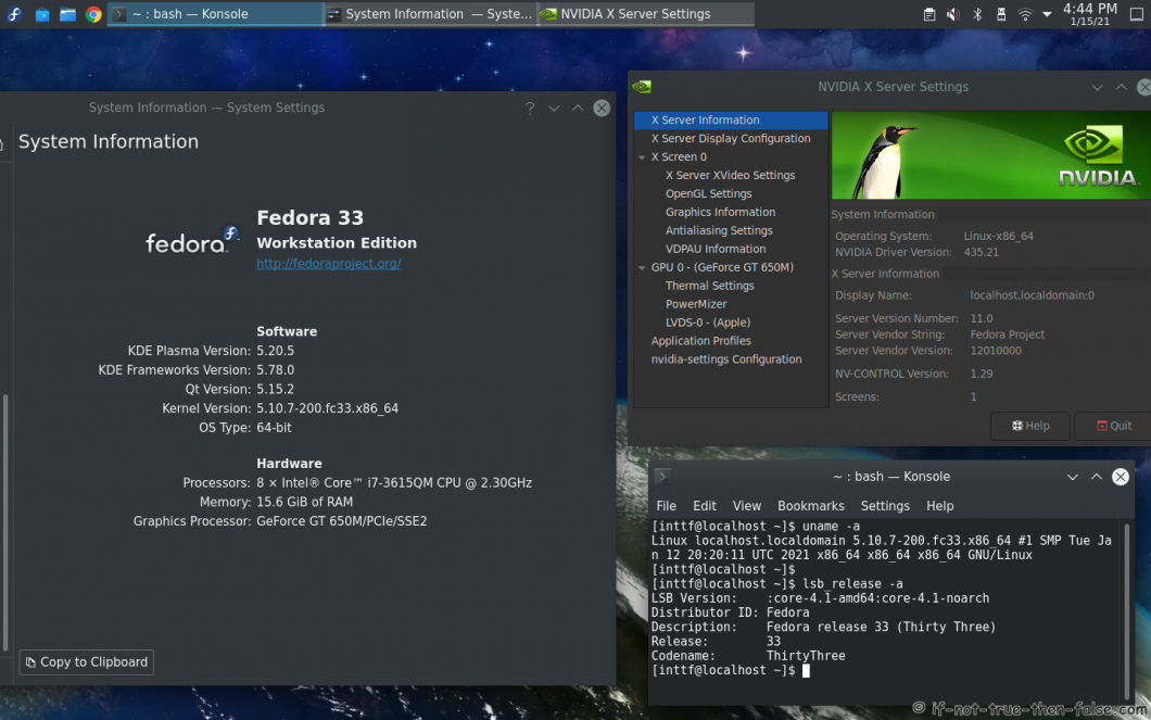 NVIDIA 435.21 drivers on Fedora 33 KDE with Kernel 5.10.7