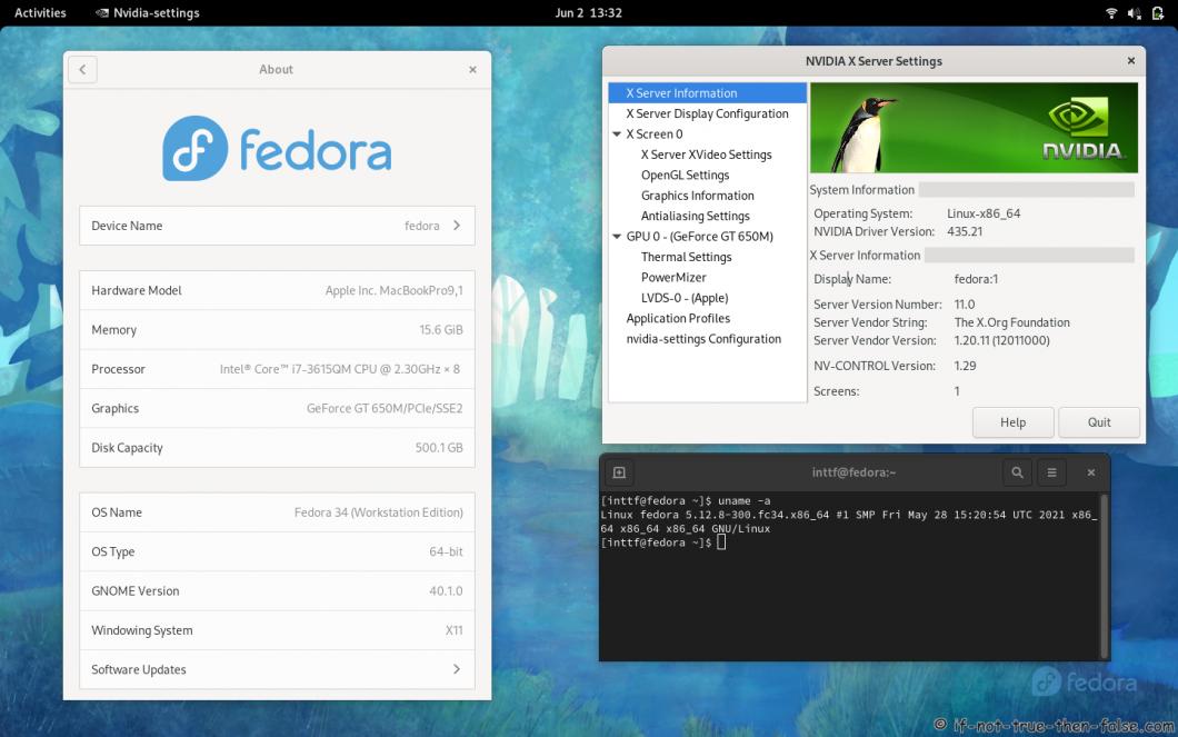 NVIDIA 435.21 Running on Fedora 34 Kernel 5.12.8 Gnome 40.1.0