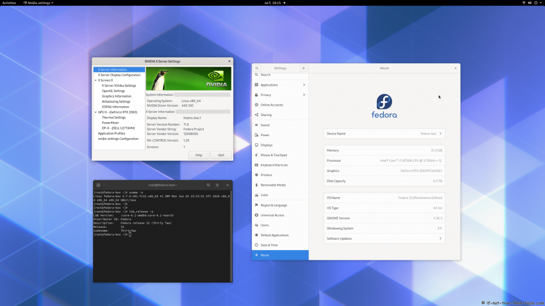 nVidia 440.100 Running on Fedora 32 Kernel 5.7.6 gnome 3.36.3