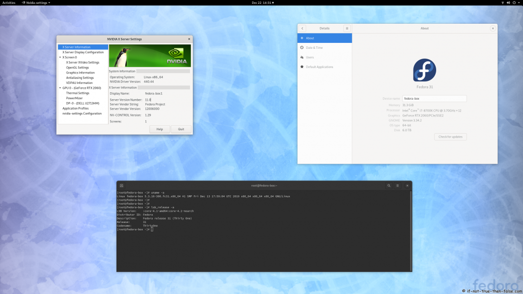 nVidia 440.44 on Fedora 31 Kernel 5.3.16 Gnome 3.34.2