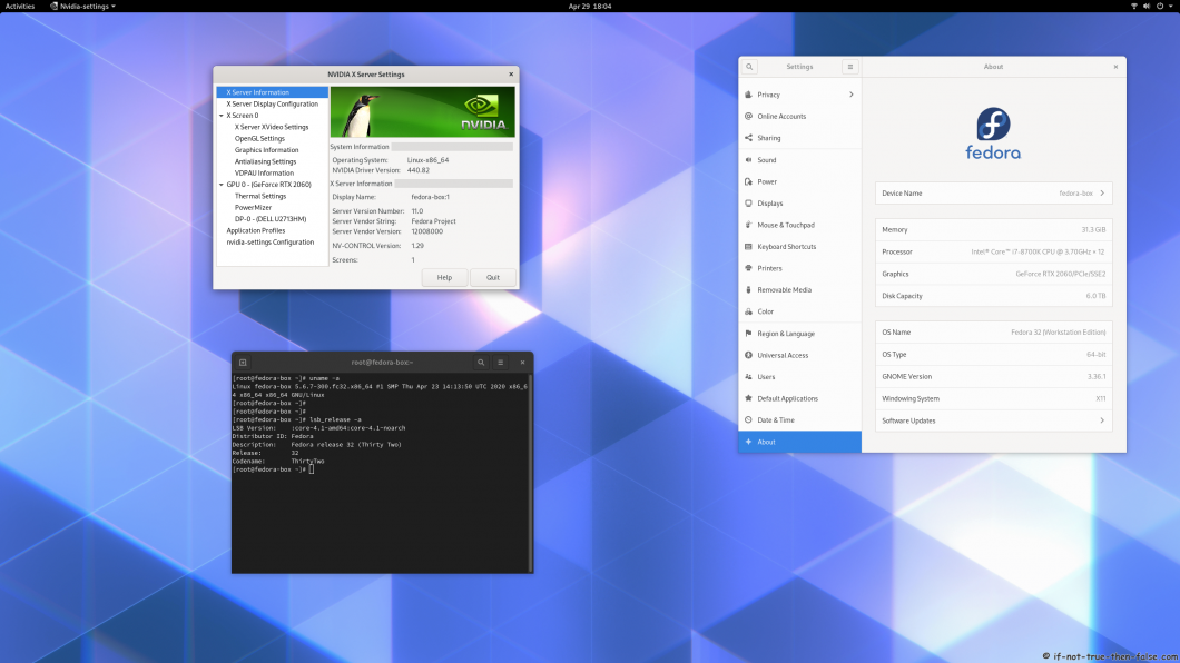 nVidia 440.82 running on Fedora 32 kernel 5.6.7 Gnome 3.36.1