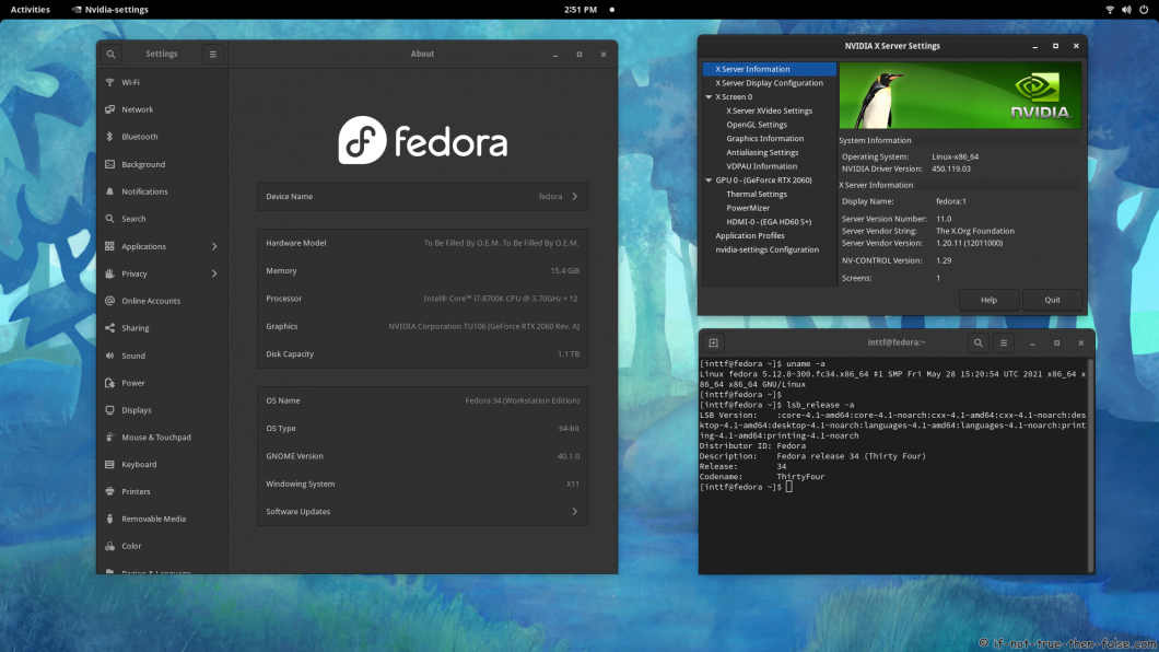 NVIDIA 450.119.03 Running on Fedora 34 Kernel 5.12.8 Gnome 40.1.0