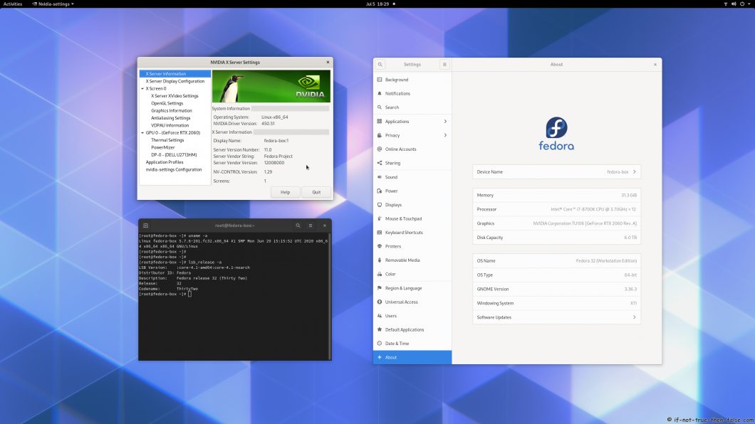nVidia 450.51 Running on Fedora 32 Kernel 5.7.6 Gnome 3.36.3