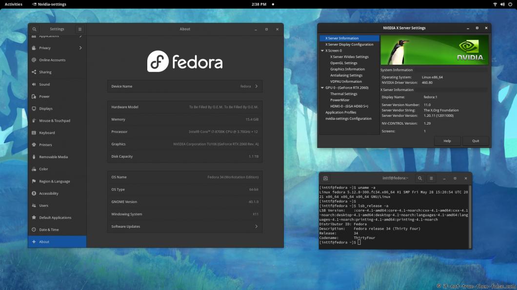 NVIDIA 460.80 Running on Fedora 34 Kernel 5.12.8 Gnome 40.1.0