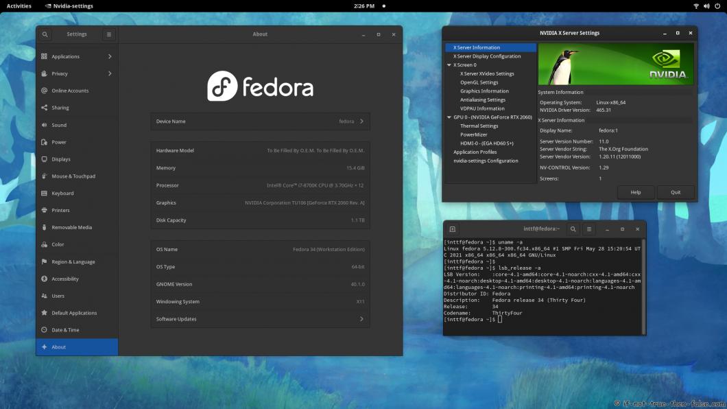NVIDIA 465.31 Running on Fedora 34 Kernel 5.12.8 Gnome 40.1.0