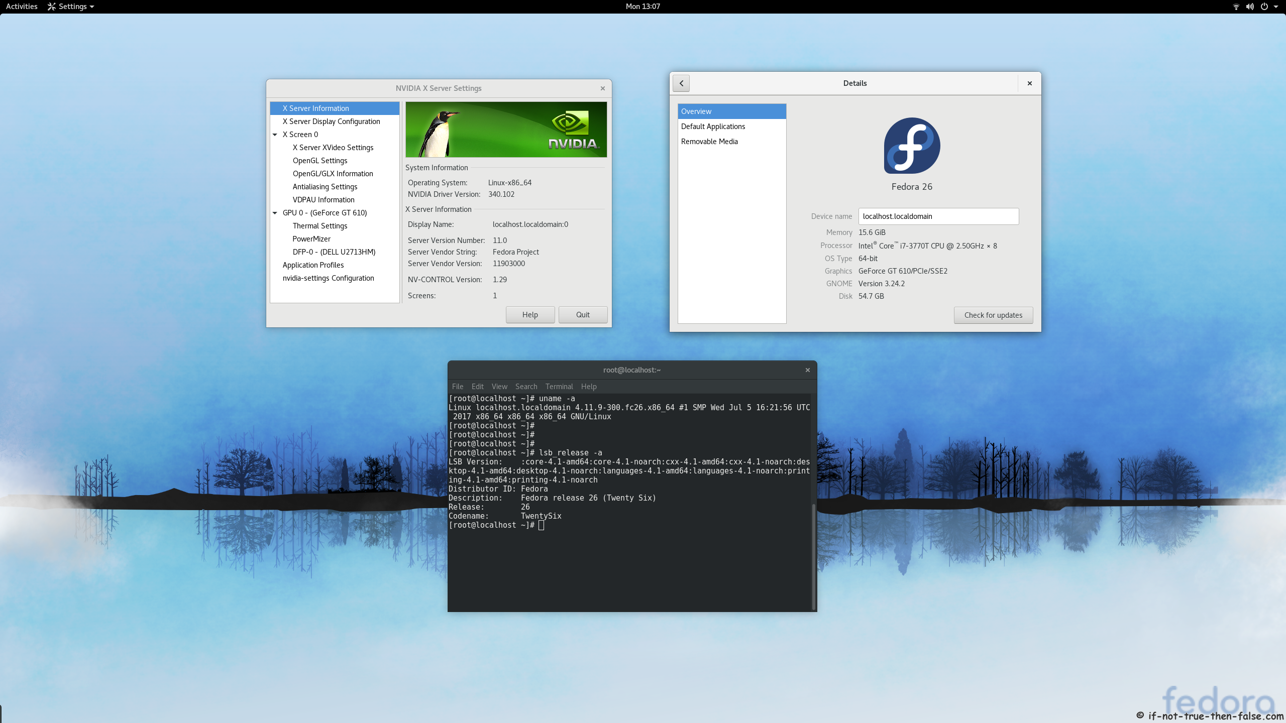 nVidia 340.102 drivers on Fedora 26 Gnome 3.24.2 with Kernel 4.11