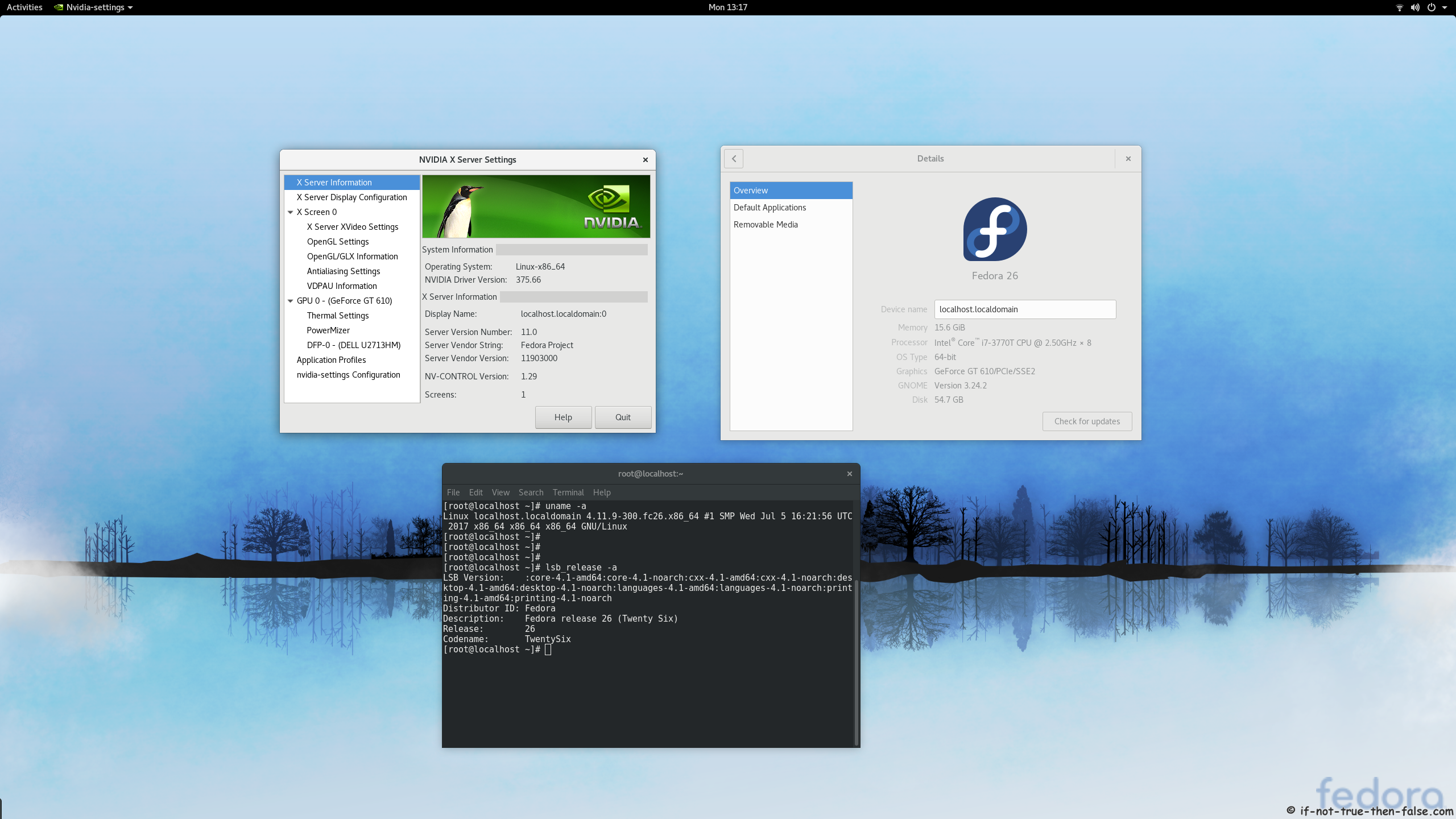 nVidia 375.66 drivers on Fedora 26 Gnome 3.24.2 Kernel 4.11