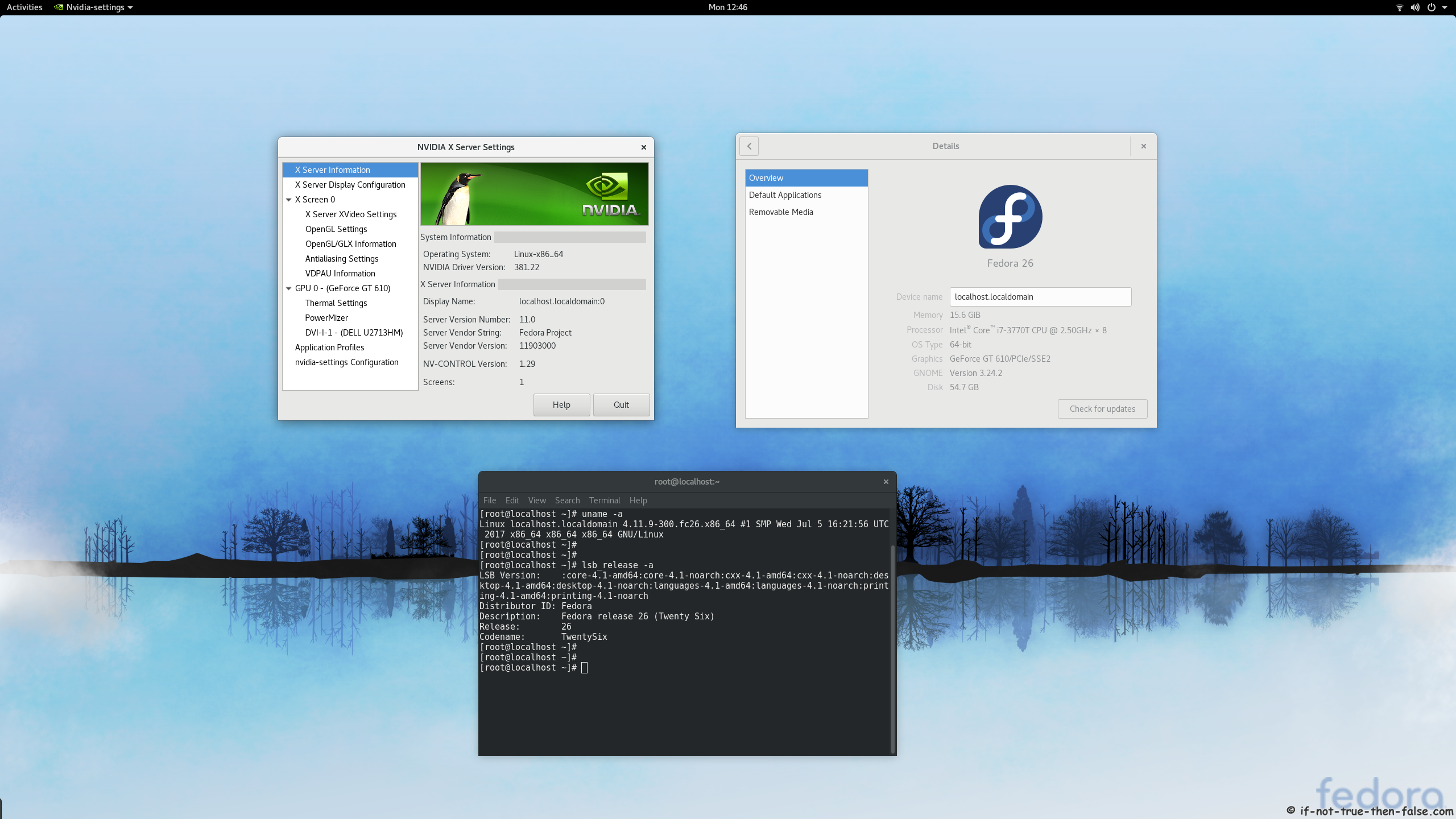 nVidia 381.22 drivers on Fedora 26 Gnome 3.24.2 with Kernel 4.11