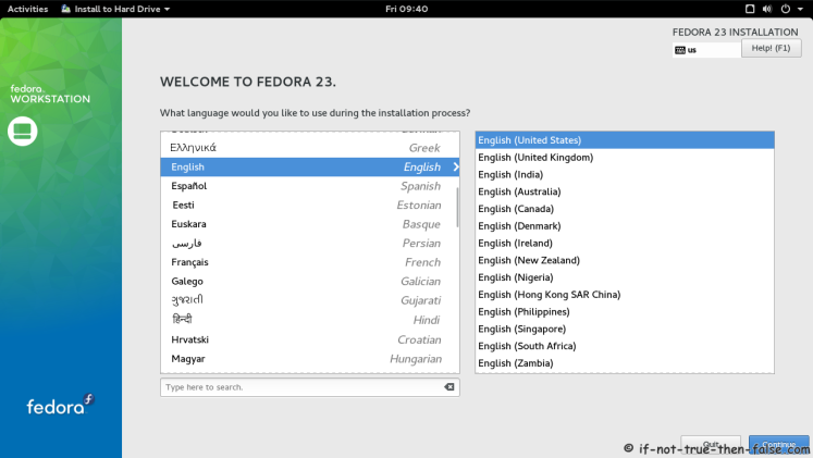 Fedora 23 Select Language