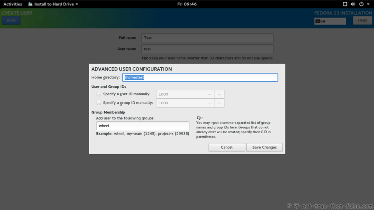 Fedora 23 User Account Advanced Options Screen