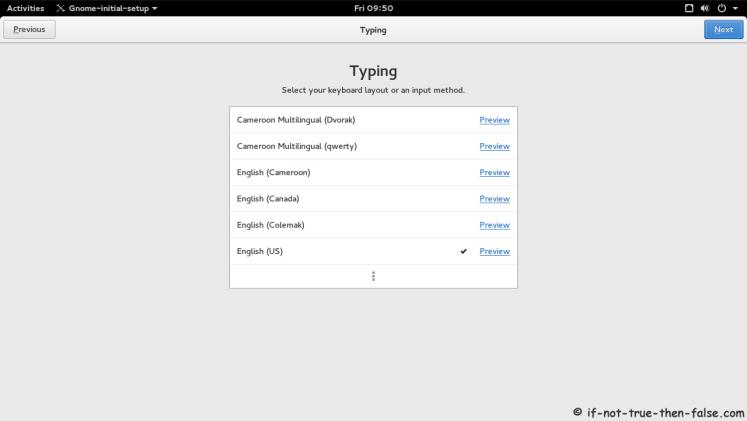 Fedora 23 Select Input Sources