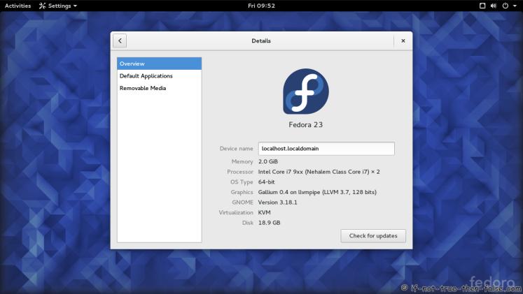 Fedora 23 Gnome 3.18.1 Details